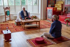 Lama Jampa in shrine room